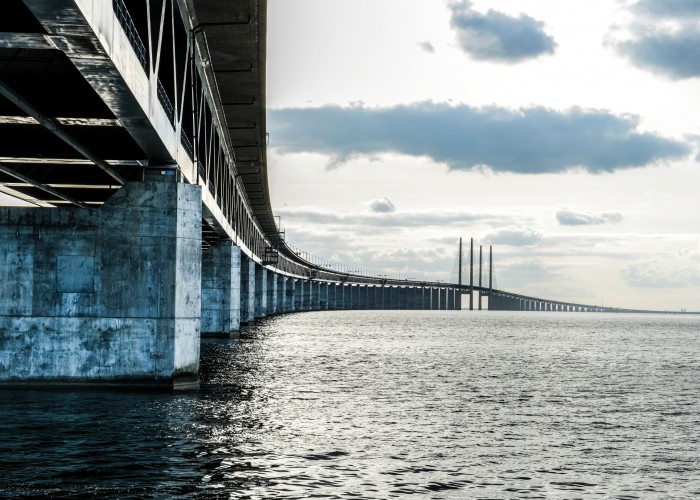 Oresund bridge connects Sweden with Denmark